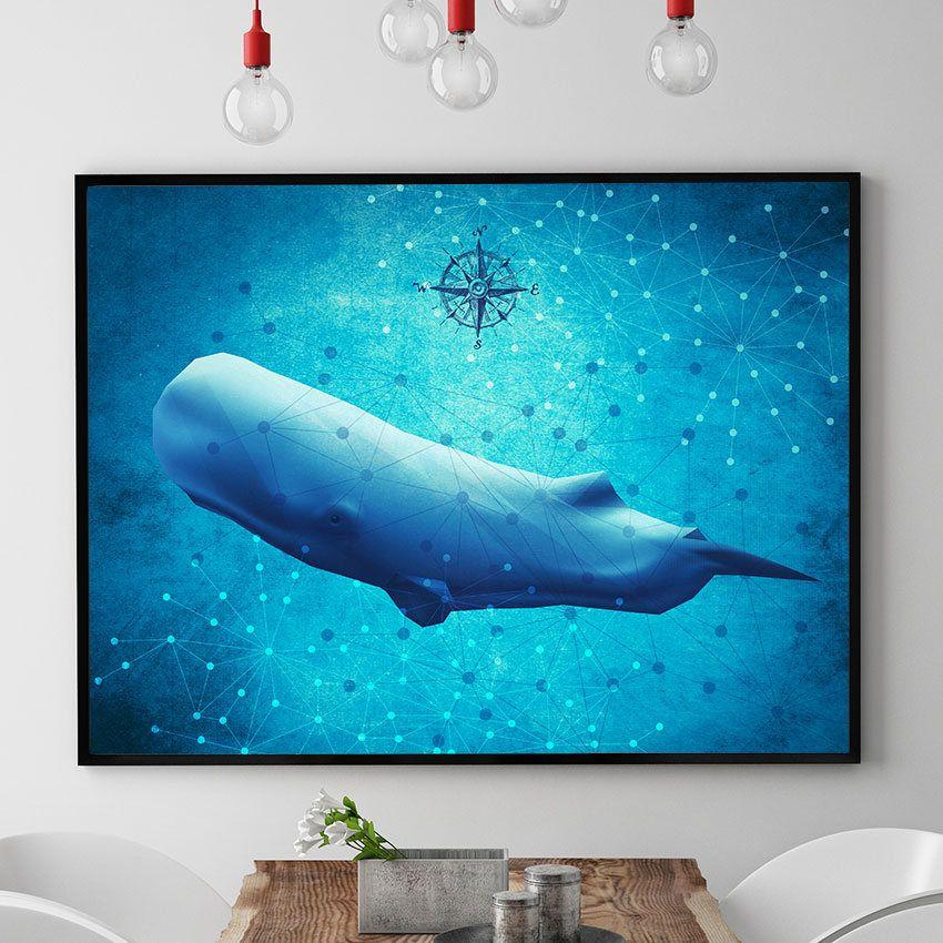 Sperm Whale Print, Whale Painting, Marine Wall Art Decor, Ocean Poster,  Coastal