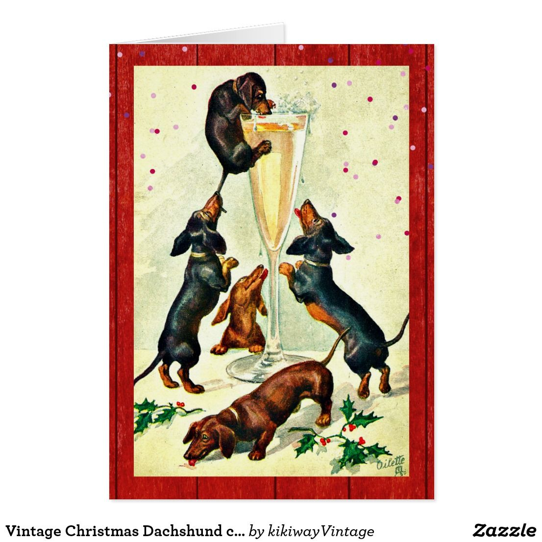 Vintage christmas dachshund champagne party card champagne party vintage christmas dachshund champagne party card kristyandbryce Image collections