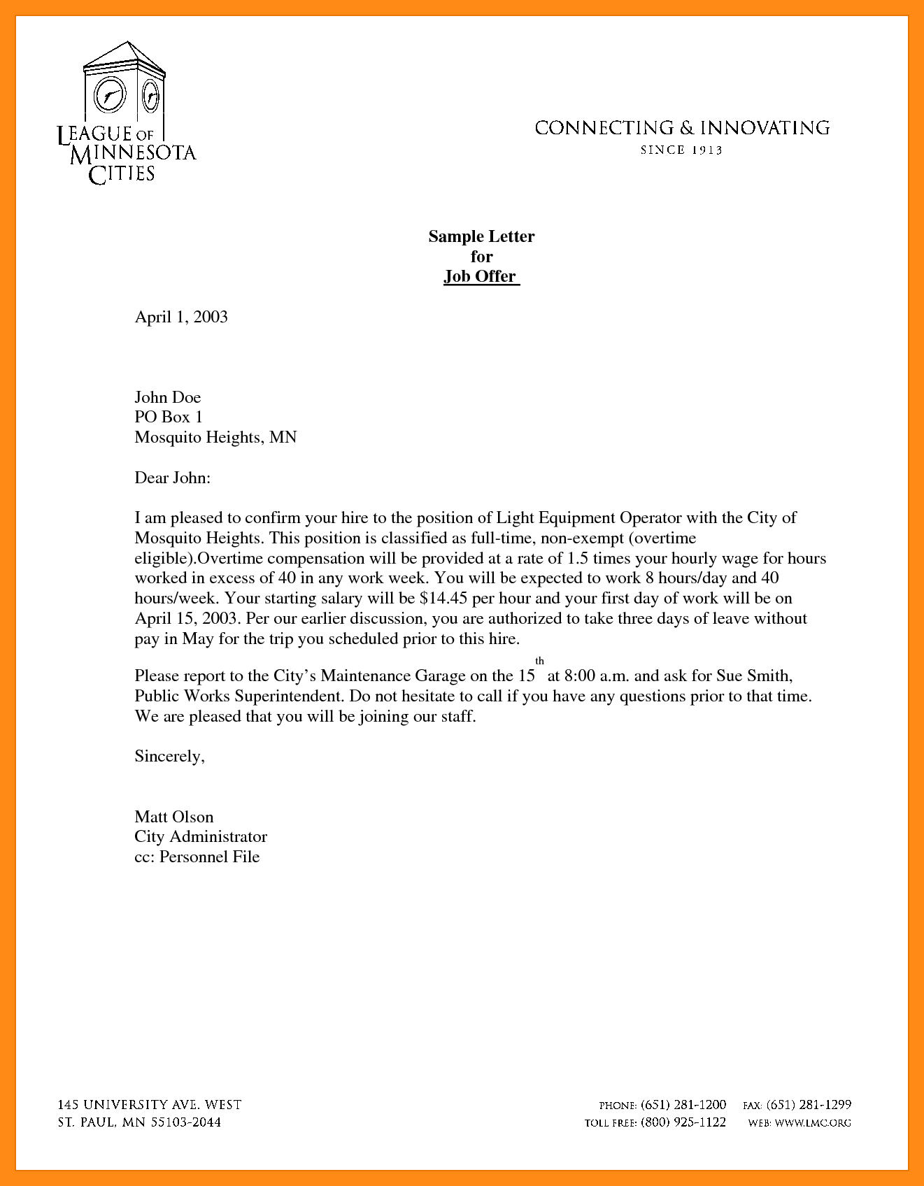 letter offer templatemple employment template job sample