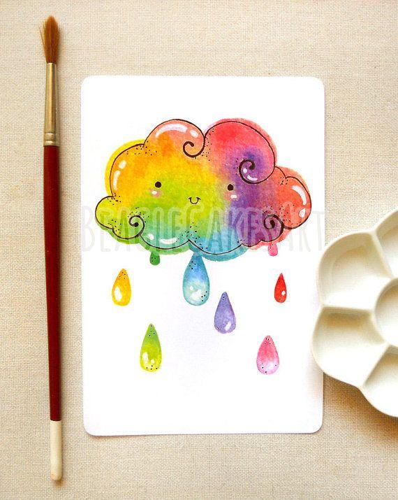 Regenbogen Kunstdruck Bunte Wandkunst Von Beaglecakesart Auf