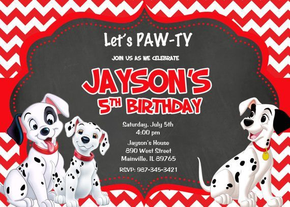 Cool 101 Dalmatians Birthday Party Invitation Ideas Birthday Party Invitations 101 Dalmations Party Printable Birthday Invitations