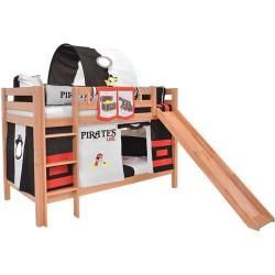 Photo of Children's bed loft bed Samuel solid beech wood with slide painted white incl. Roller grate – 90 x 200 – bingefashion.com/dekor