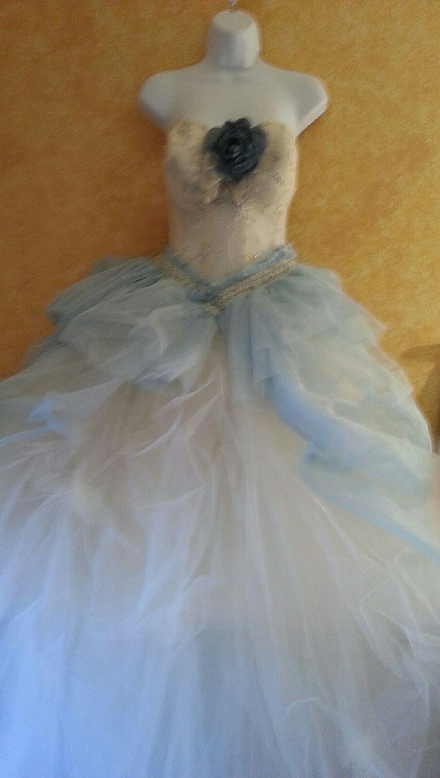 Nice awesome cinderella blue u ivory sheer bead corset tulle tutu