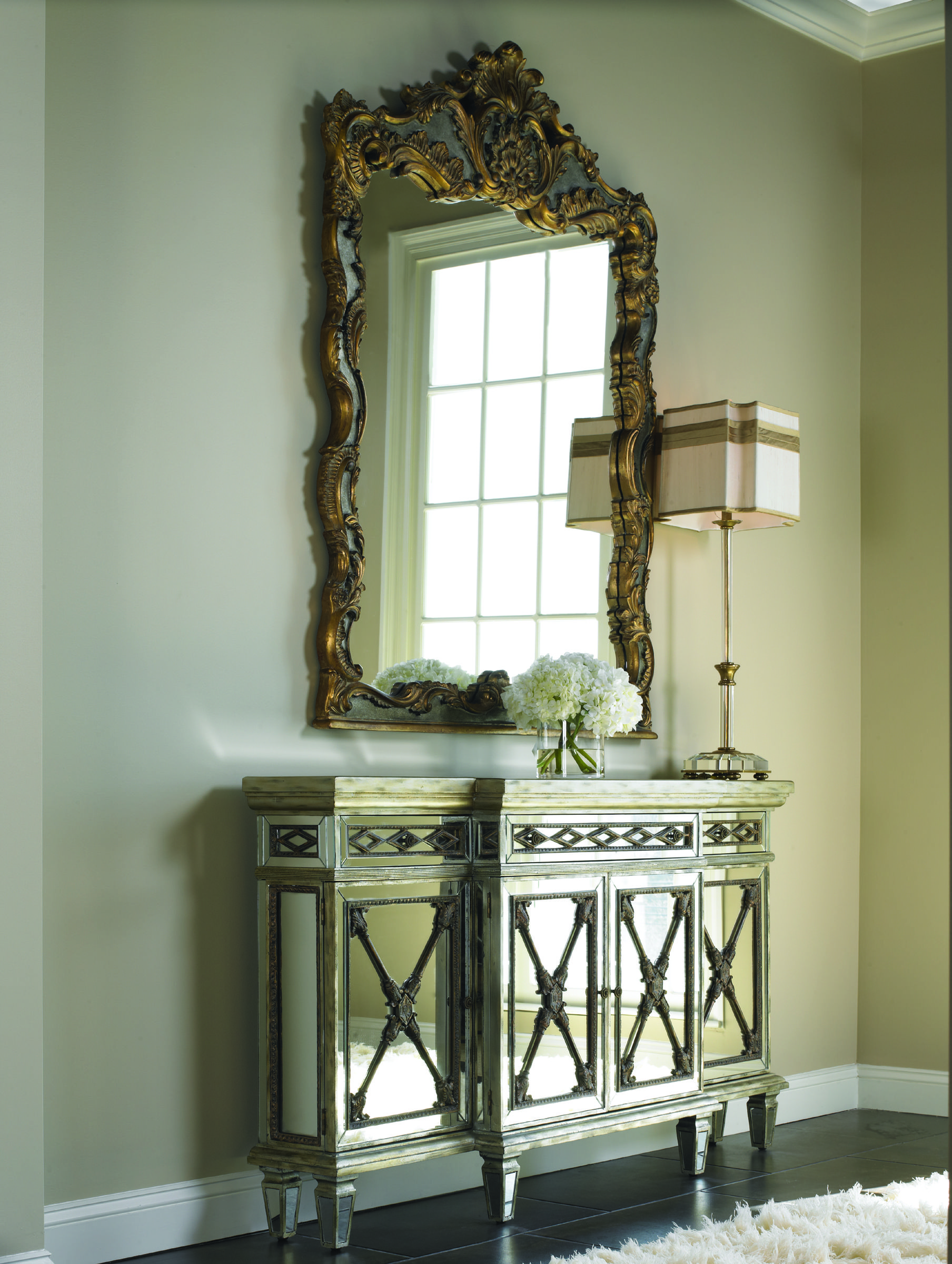 Marvelous La Barge LT6966 Mirrored Console And EM1071 Overscaled Baroque Crowned Top  Mirror   Classic Elegance.