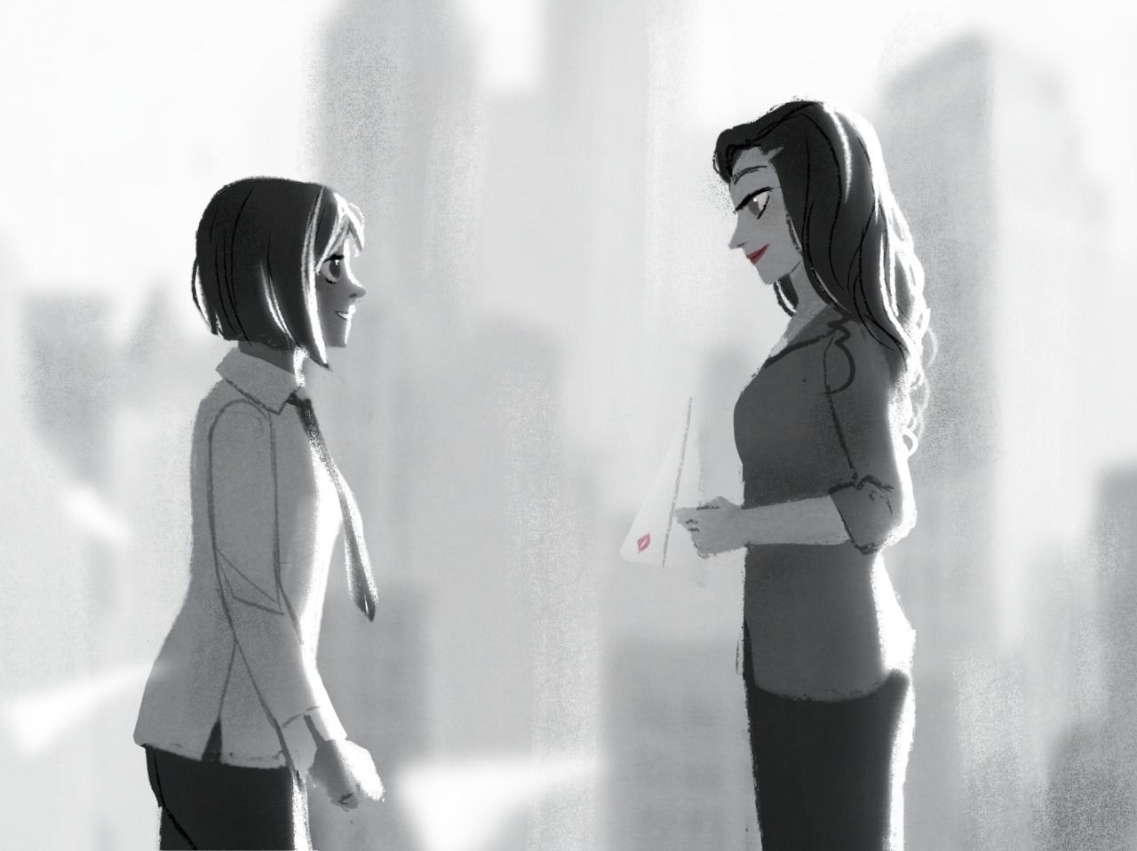 walkingnorth-art:  Giveaway prize for berylgrace who wanted modern au Korrasami in a chalky style. I thought it would be nice to draw Asami as a business woman, since I've never done that before, but then my hand slipped and I somehow ended up with a Paperman crossover? Whoops??? I hope you like it :)  Wow, no sé por qué no había visto esto