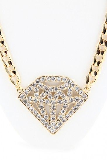Bling Bling Diamond Chain Necklace - Gold