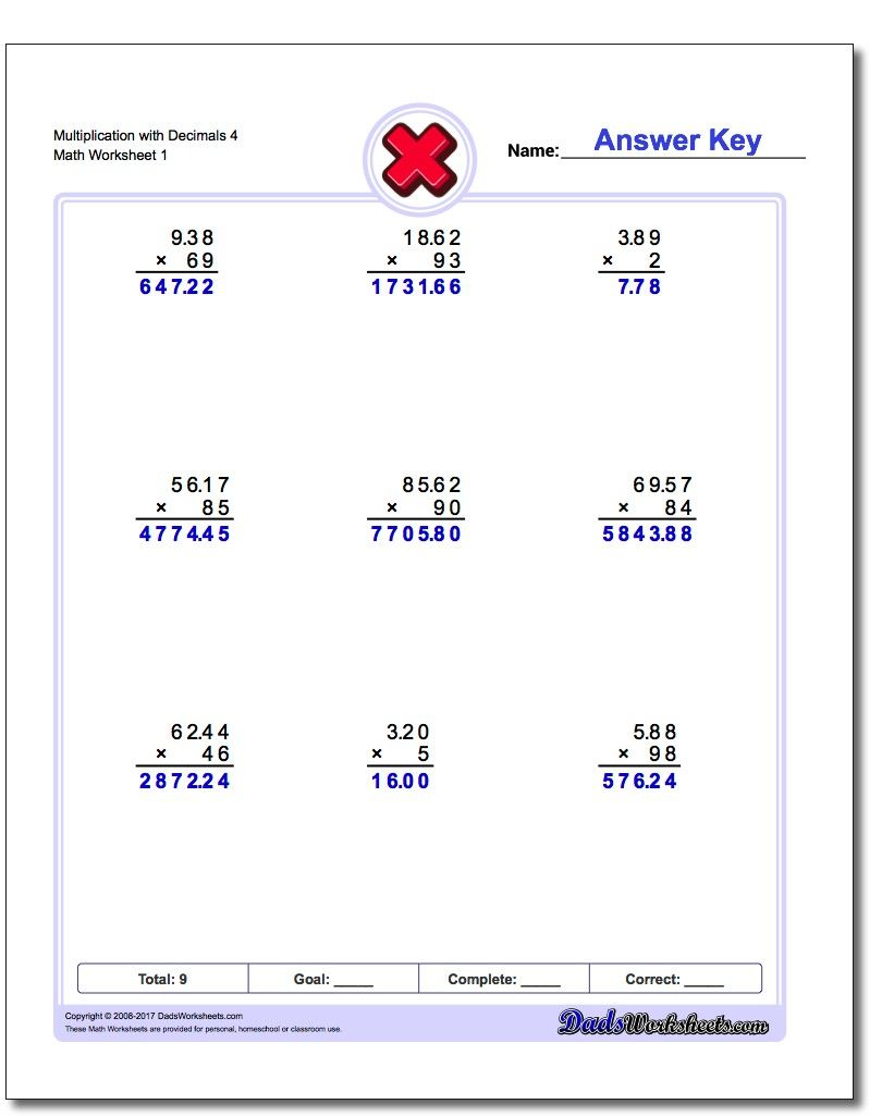 Multiplication With Decimals Worksheets Helping Kids Learn