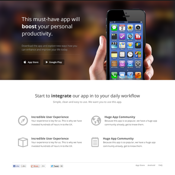 App Landing Page (iPhone, iPad, MBA) ~~ This is a modern, clean ...