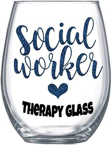 Best Seller Social Worker Gifts  Women Funny Large Stemless Wine Glass Therapy Cup 0025 online - Showmetopstyle #nosolicitingsignfunny