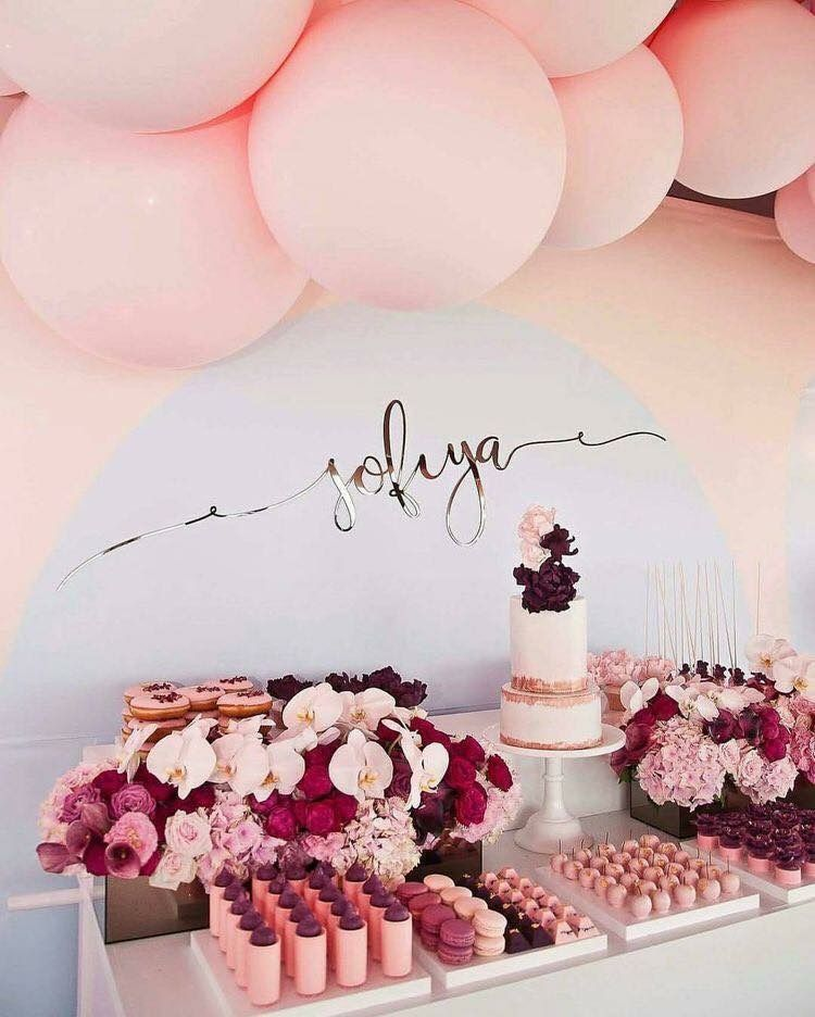 Soft Pink Dessert Table With Burgundy Accents