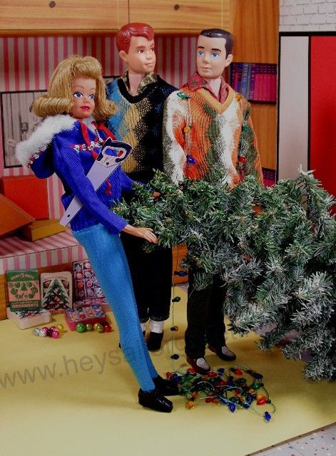 Midge bringing in the Christmas tree as Allan and Ken look on by Hey Sailor Greetings - Love the miniature vintage Shiny-Brite ornament boxes.
