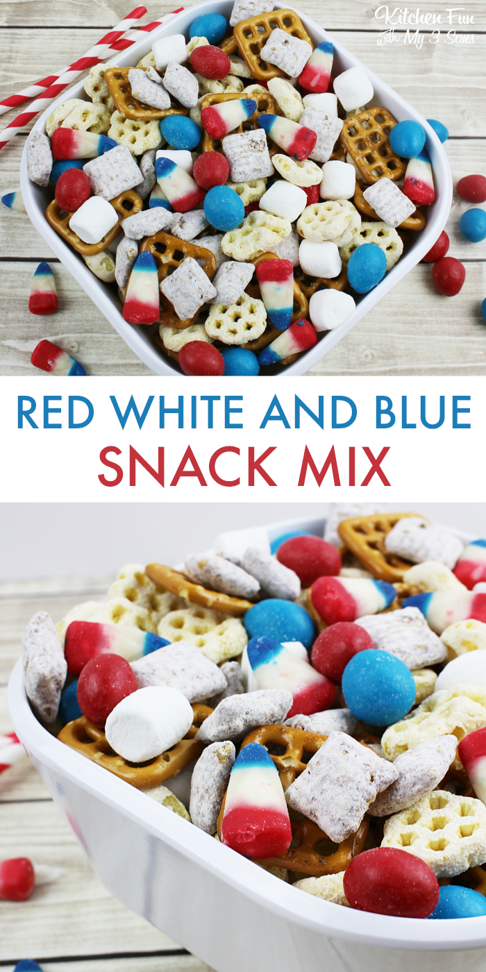 Easy Patriotic Snack Mix #labordayfoodideas