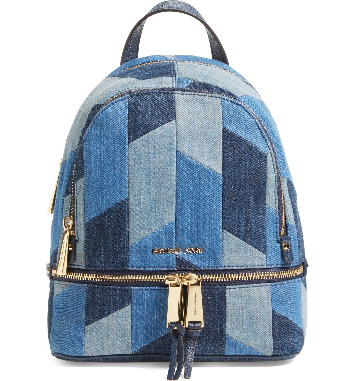 Michael Kors 'Small Rhea Zip' Denim Backpack | Borse di