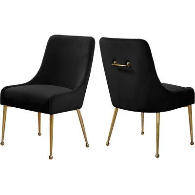 Everly Quinn Stovall Velvet Upholstered Side Chair Velvet Dining Chairs Dining Chairs Upholstered Side Chair