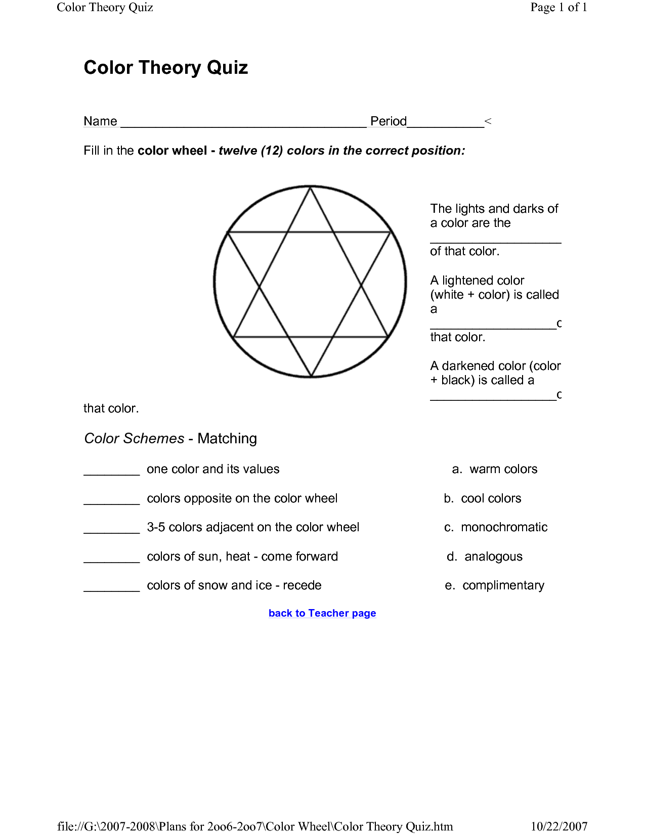 Colour Theory Worksheet Color Theory Quiz Page Of Color Theory Quiz Name Color Theory Color Theory Worksheet Color Quiz [ 1650 x 1275 Pixel ]