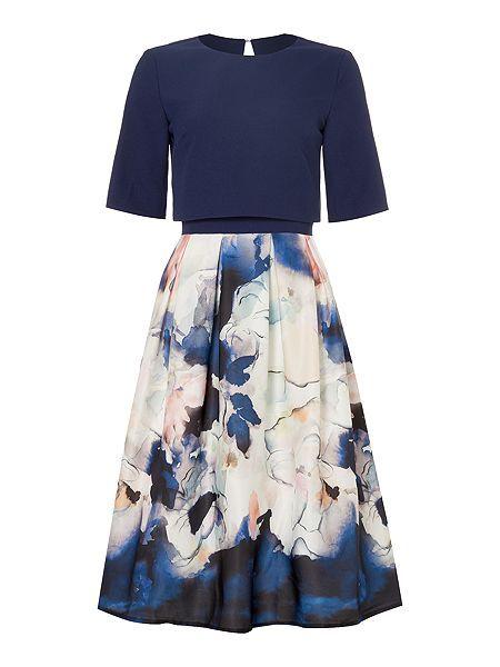 3/4 sleeveless print dress