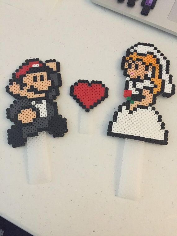 Mario and Princess Peach Wedding Cake Topper | Peach wedding cakes ...