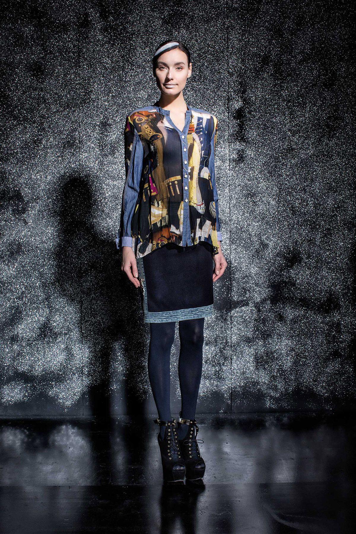 DANIELA DALLAVALLE - #danieladallavalle #collection #fw17 #elisacavaletti #woman #chick #skirt #shirt #fashion #details #detailsmatter #art #highheels #tights #print