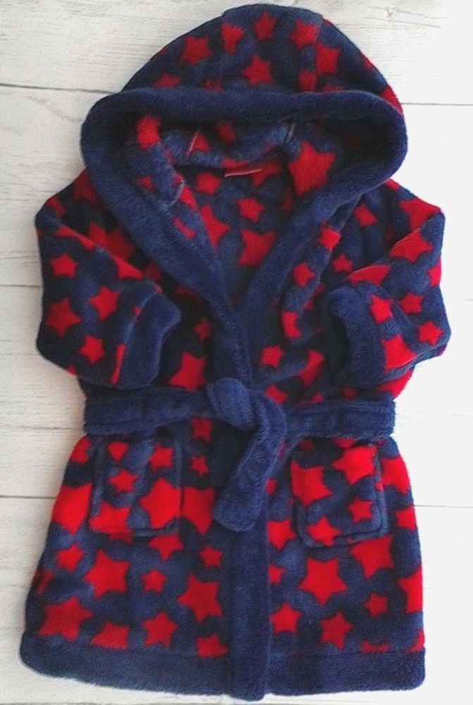 Baby Boys Fleece Dressing Gown with Hood 6-9 months | Babies ...