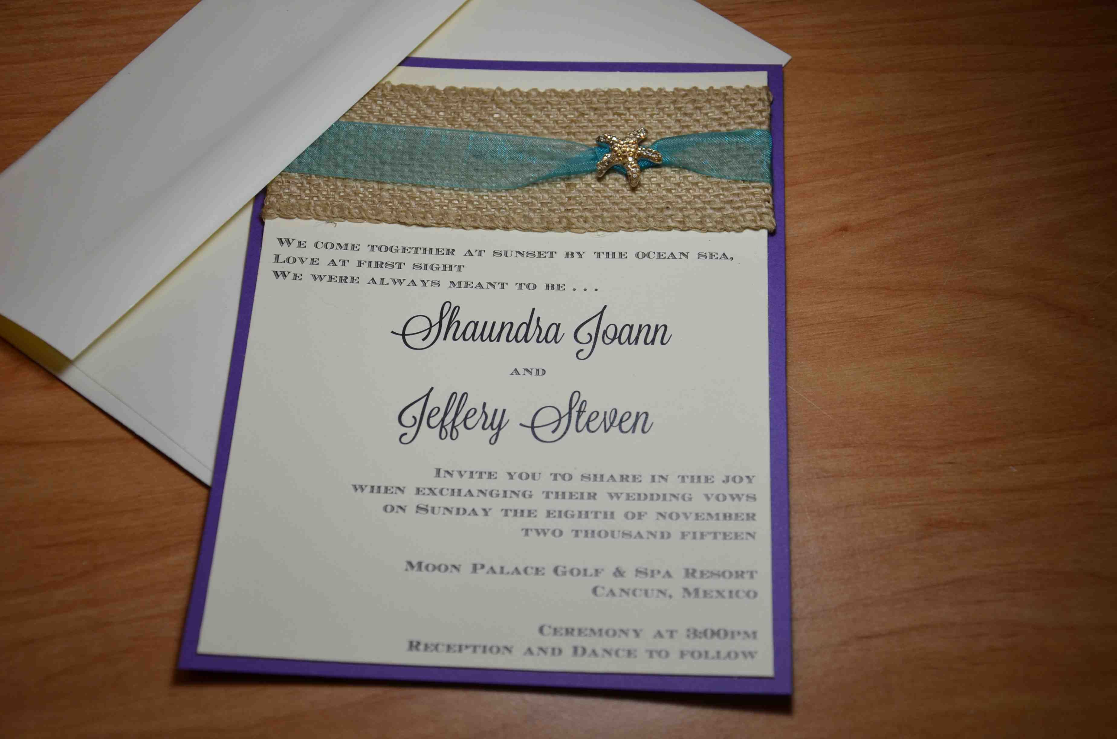 Purple, ivory and teal with burlap and gold starfish accent wedding ...