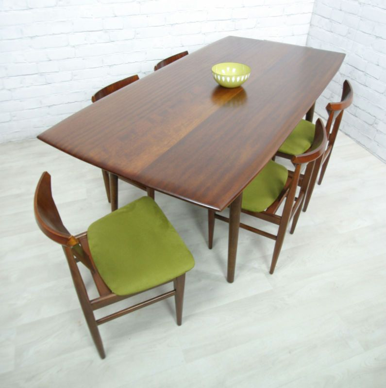 retro dining room table and chairs steel chair shot gif vintage teak mid century danish style eames era 50s 60s ebay