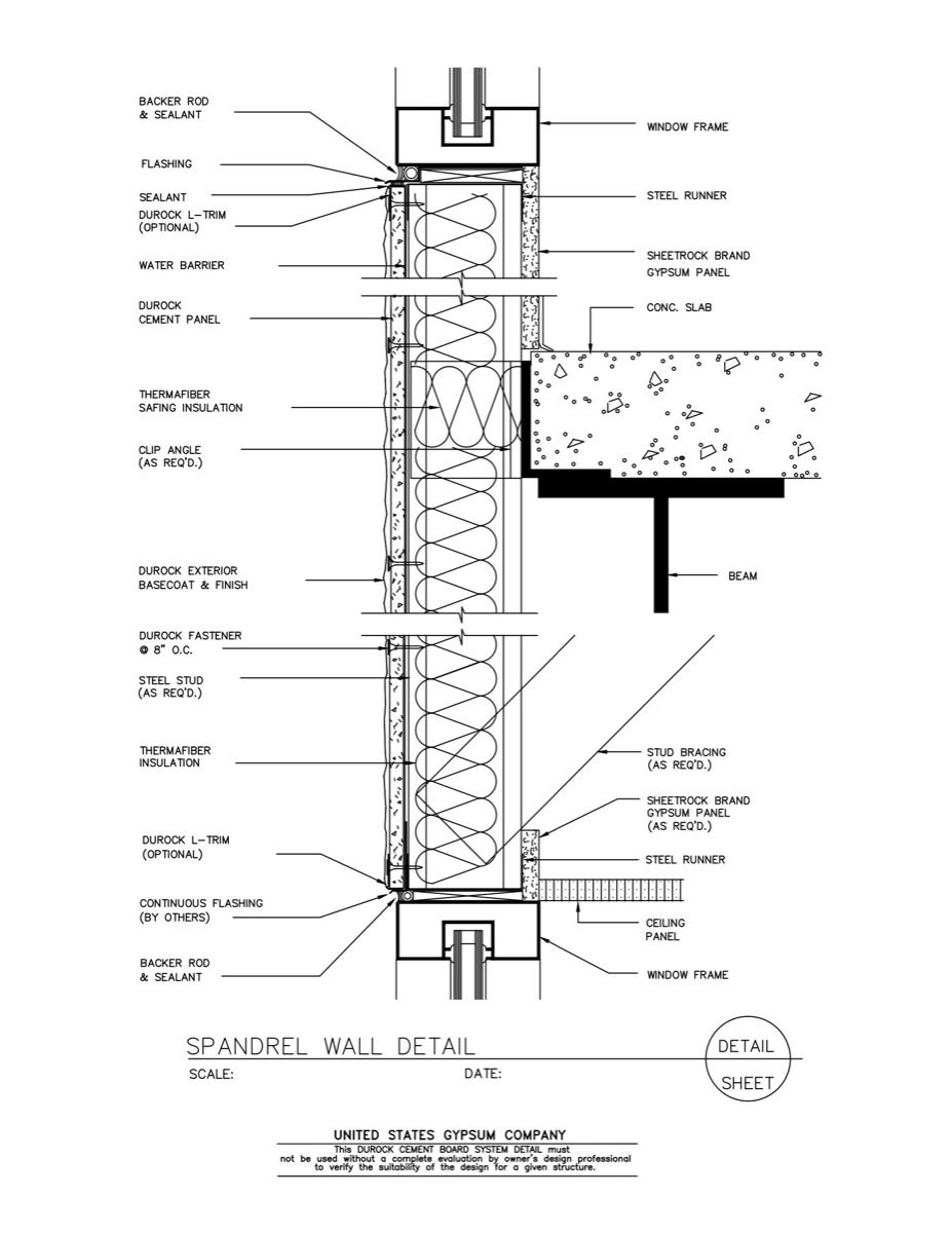 09 21 16 03 261 Durock Spandrel Wall Detail Enlarge 1200 Jpg 927 1 200 Pixels Curtain Wall Detail Architecture Details Construction Drawings