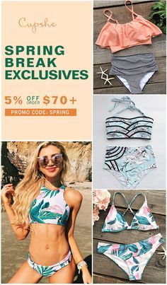 Spring Break Sales~ 5% Off Order Over $70 Promo Code: SPRING  Short Shipping Time! Easy Return + Refund! Inspire confidence and beauty through redefined and affordable fashion. Cupshe.com has awesome spring break must-have pieces for you. No wonder it is perfect for you.