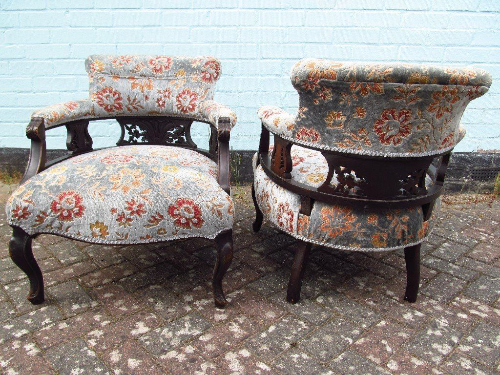 Pair Of Antique Mahogony Framed Edwardian Tub Chairs