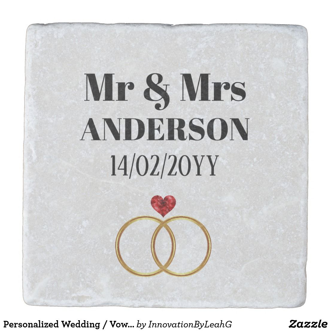 Personalized Wedding / Vow Renewal / Anniversary Stone Coaster ...