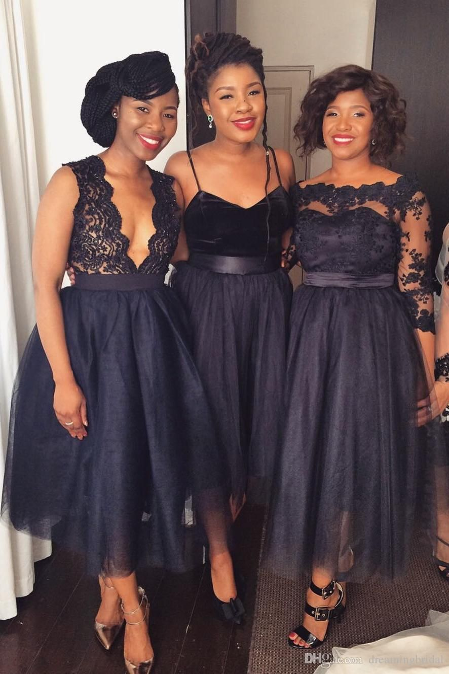 Wedding dresses for black girls  Black Girl Bridesmaid Dresses  Style Sleeveless Tea Length Wedding