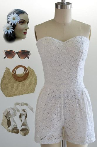 73045a94a2d 50s Style Ivory White Eyelet Lace Sweetheart Neckline Tiedback Pinup  Playsuit