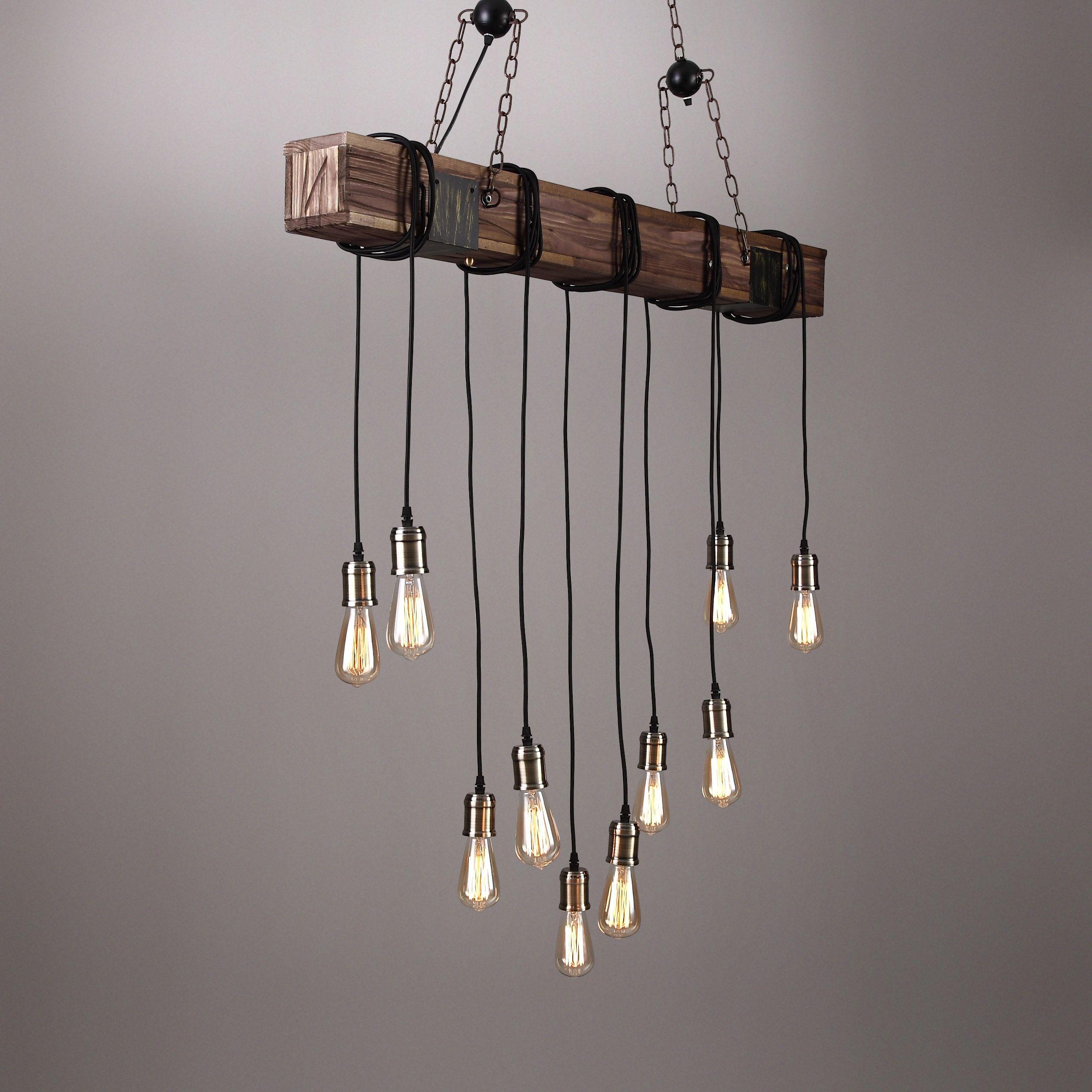 Farmhouse Style Dark Distressed Wood Beam Large Linear Island Pendant Light 10 Edison Bulbs