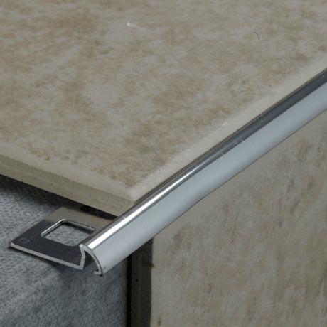 Tile Rite 8mm Quadrant Round Edge Metal Tile Trim Silver Tile Trim Metal Tile Tile Edge