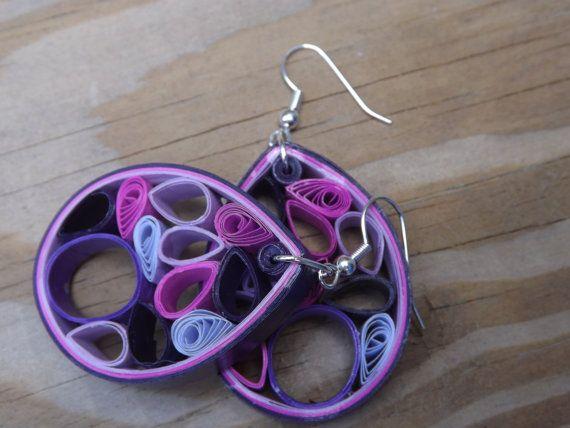 1er anniversaire cadeau / boucles d'oreilles en papier / violet moyen piquants boucles d'oreilles / Med O