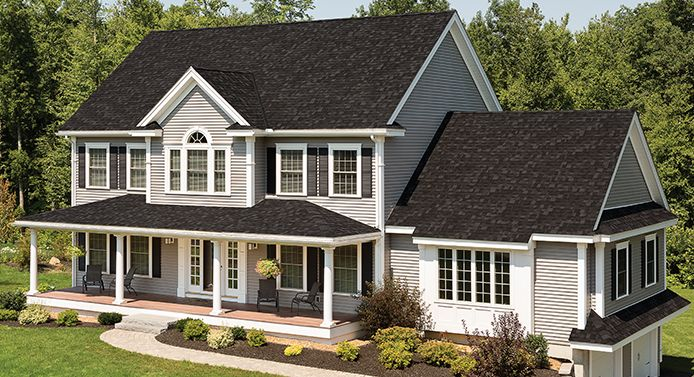 House Biltmore Ar Dual Black F Roofing Shingles Gallery Jpg 694 377 House Exterior Residential House Building A House