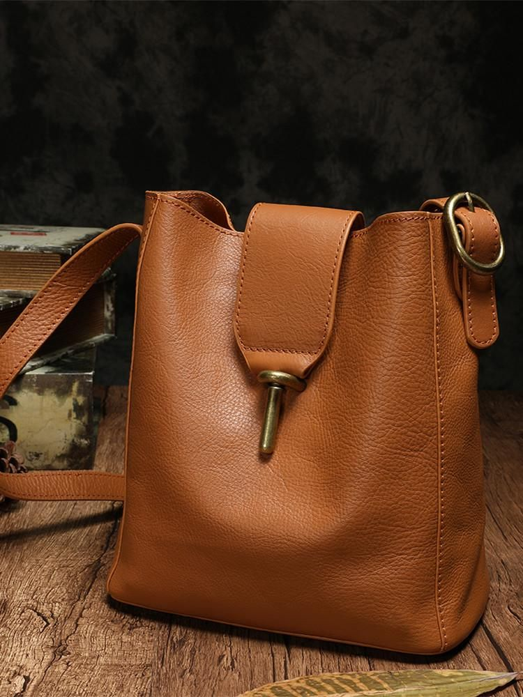 Photo of Waxed Leather Bucket Satchel Shoulder Bag Purse
