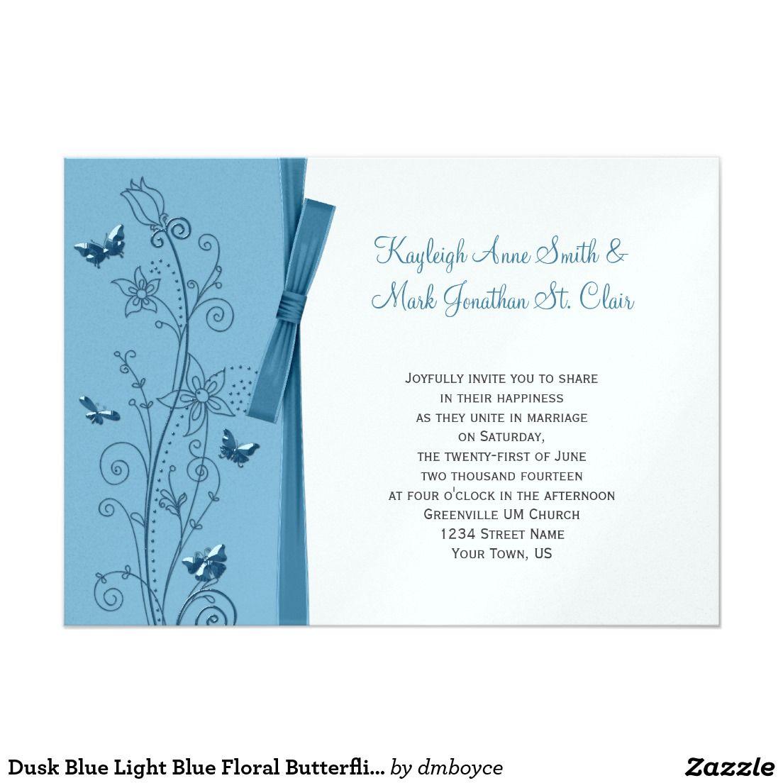 Dusk Blue Light Blue Floral Butterflies 5x7 Paper Invitation Card ...