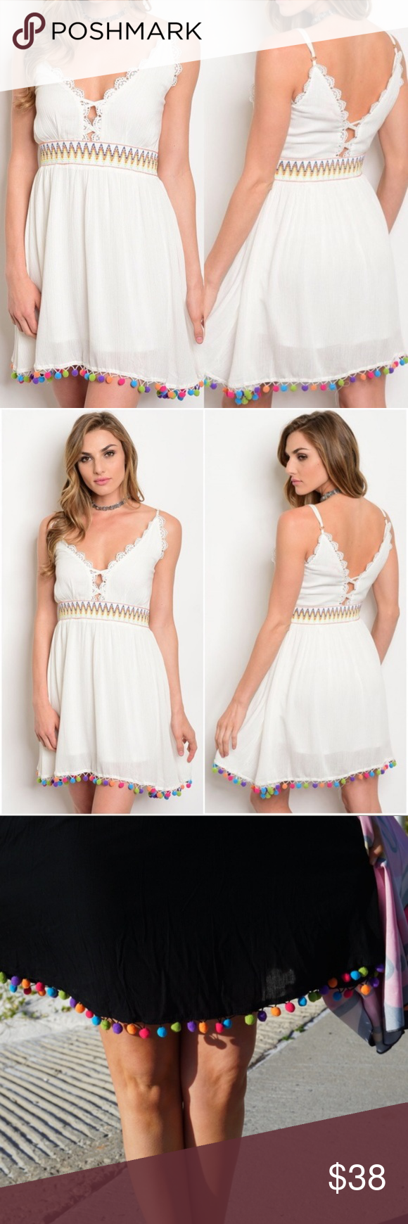 73e1862fa0 ... Pom Poms Dress - White Boutique Item: Sassy & Sexy Little White Dress  with Multi-Colored Pom Pom embellishments at the bottom of the dress. - V- Neck ...