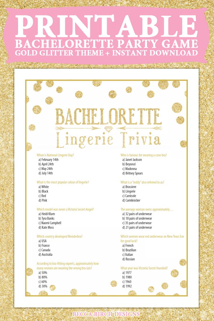 bachelorette lingerie trivia game bachelorette party clean fun game instant download gold theme