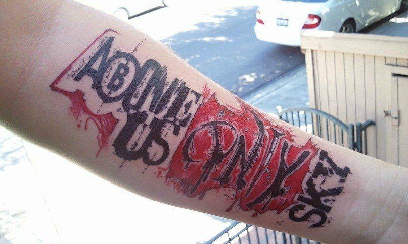 Anchor Trash Polka Black Red Maya Bri Lettering Font Thigh Leg Shaded Rope Tattoo Kamloops Dolly S