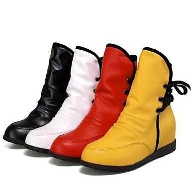 sapatos moda feminina apontou botas de salto cunha toe com lace-up mais cores disponíveis – EUR € 22.99