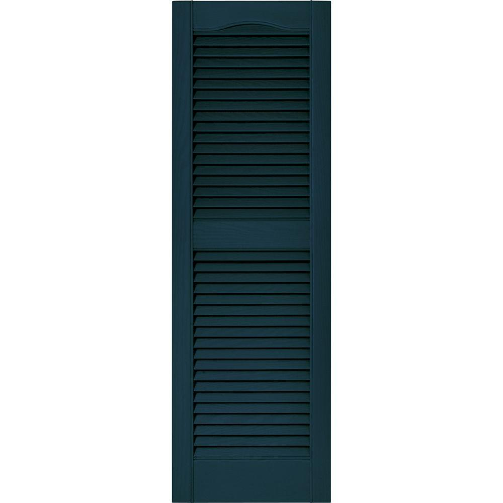 Builders Edge 15 In X 48 In Louvered Vinyl Exterior Shutters Pair In 166 Midnight Blue Green Shutters Louvered Shutters White Shutters