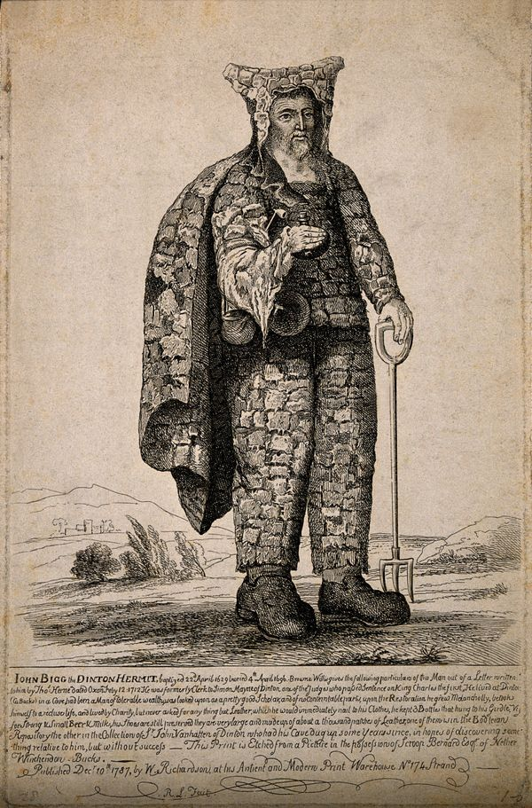 """In 18th C. Europe it became a popular romantic sentiment to have an ornamental hermit living in one's garden...'Back in the 18th C. wealthy estate owners were hiring real people to dress as druids, grow their hair long, and not wash for years. These hired hermits would lodge in shacks, caves and other hermitages constructed in a rustic manner in rambling gardens. It was a practice mostly found in England, although it made it up to Scotland and over to Ireland as well.'"""