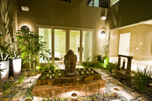 Garden Plants Buddha Zen Atrium Exteriors Design Entrance Trees Candles  Buddhism Asian Interior Design Stones Brick