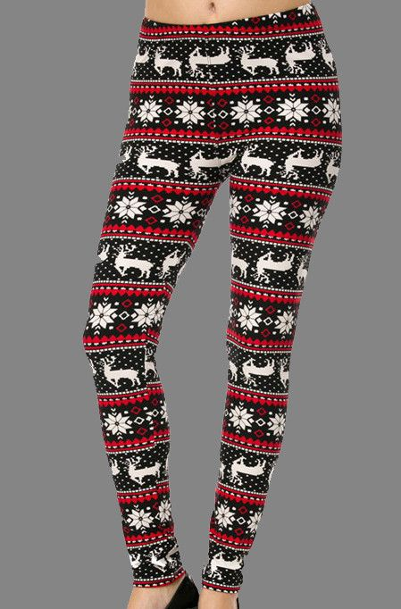 Brushed Soft Legging with Holiday Reindeer Fair Isle Screen Print ...
