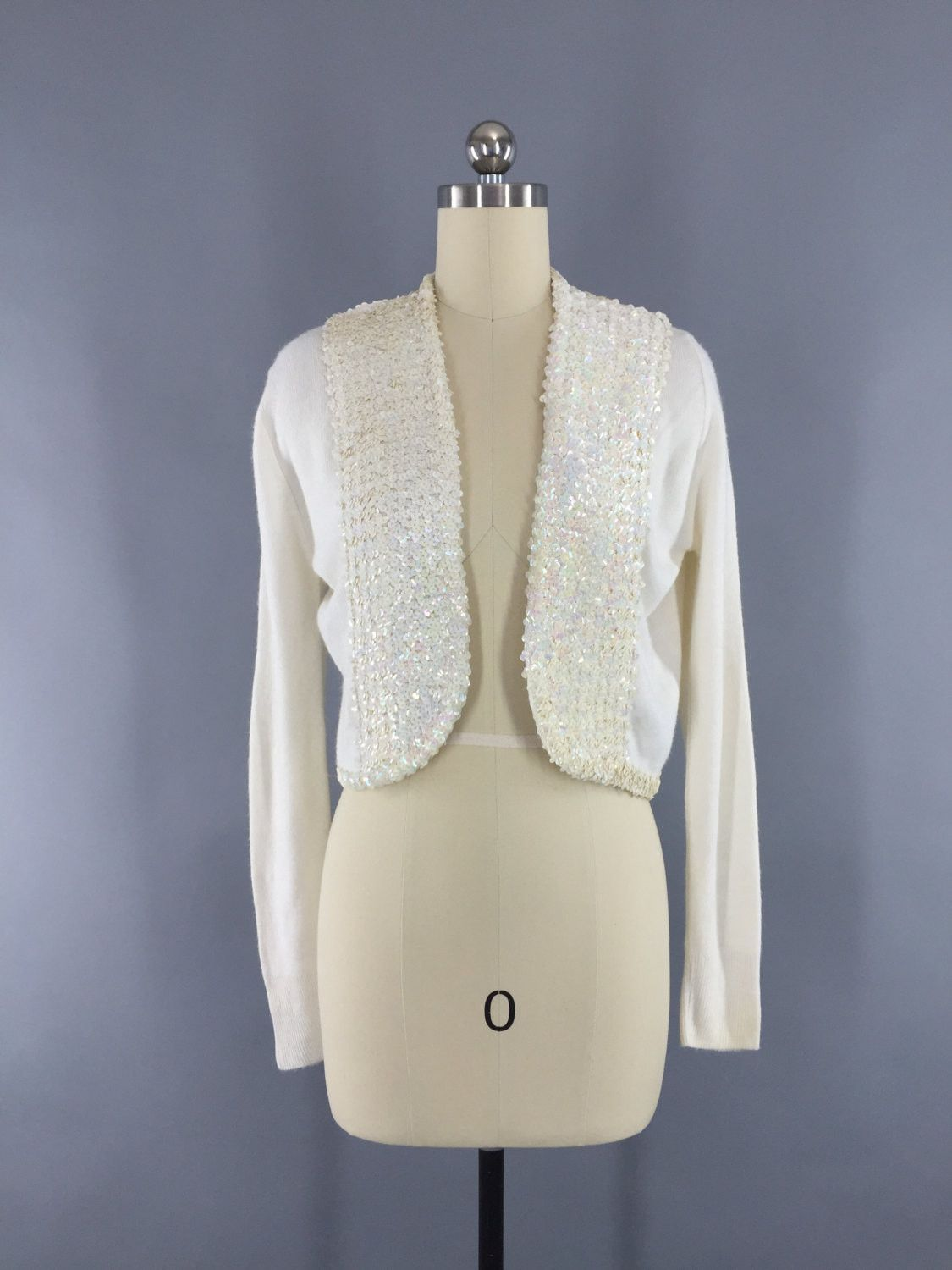 Vintage 1950s White Sequined Cropped Cardigan Sweater | 1950s and ...