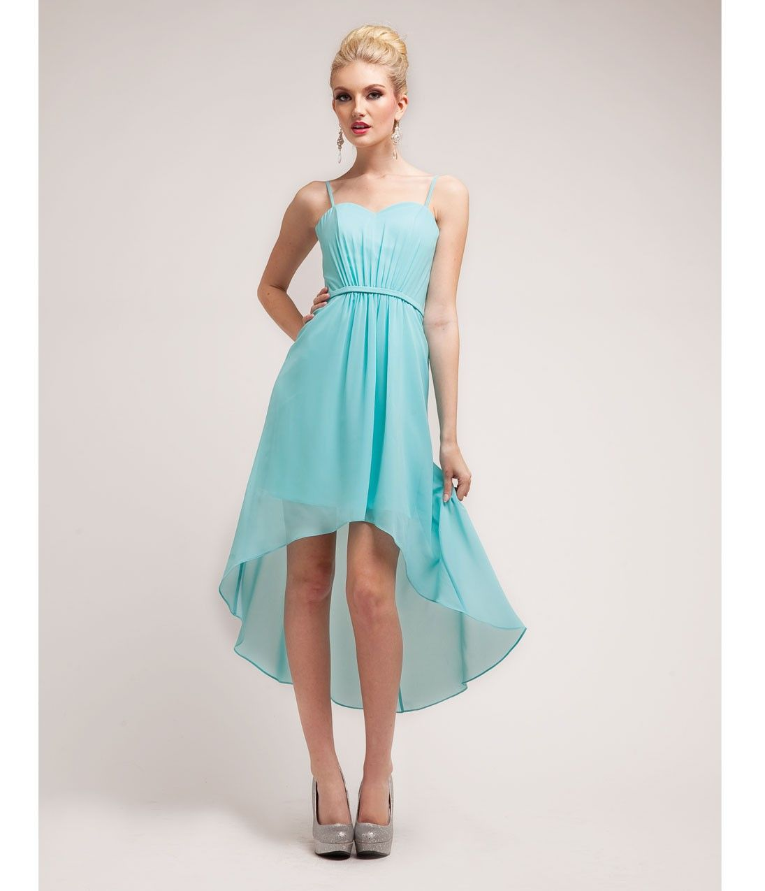 turquoise high low dress casual - Google Search | Graduation outfit ...