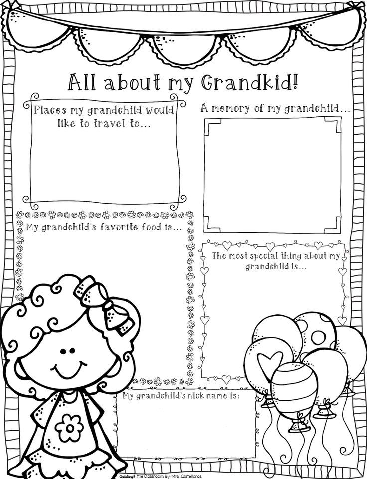 Grandparents Day activities, cards, acrostic poem, graphic
