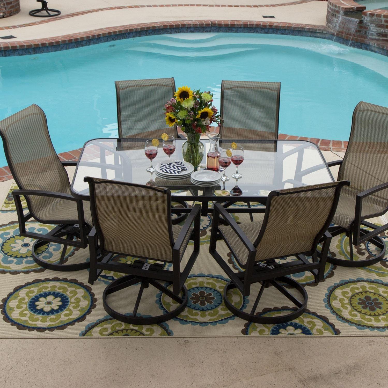acadia 7 piece sling patio dining set
