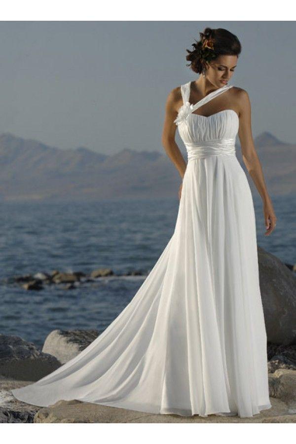 White chiffon beach wedding dress